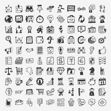 100 doodle business icon