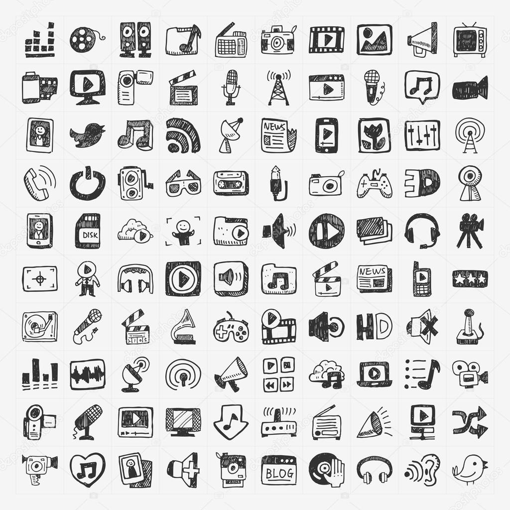 Doodle media icons set stock vector