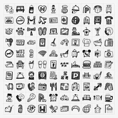 Doodle hotel icons set stock vector