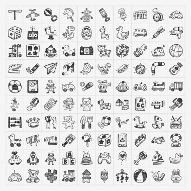 Doodle toy icons stock vector