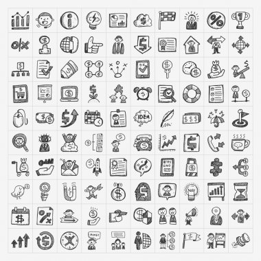 Doodle business icon clip art vector