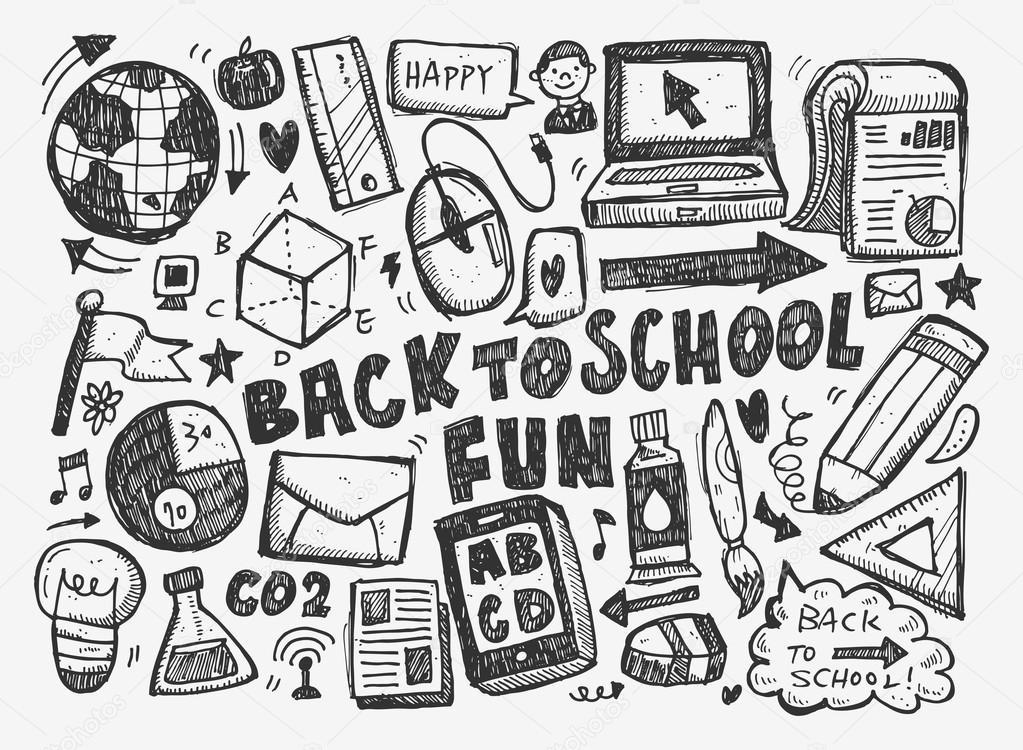 Souvent main dessiner doodle école élément — Image vectorielle #43401343 LR78