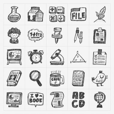 hand draw doodle school icon