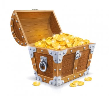 Vintage wooden chest with golden coin vector illustration isolated on white background EPS10. Transparent objects and opacity masks used for shadows and lights drawing stock vector