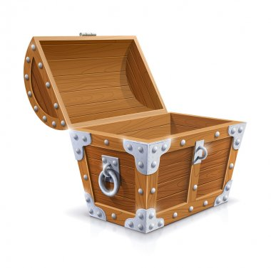 Vintage wooden chest with open lid vector illustration isolated on white background EPS10. Transparent objects and opacity masks used for shadows and lights drawing stock vector