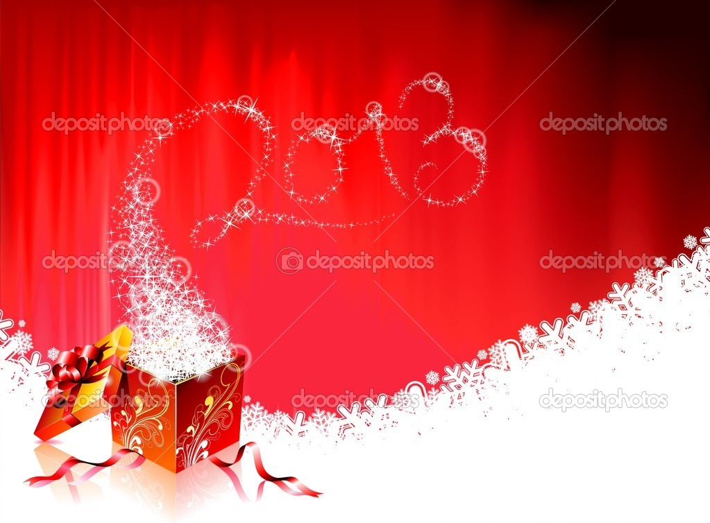 Vector Happy New Year design with shiny magic gift box and 2013 text