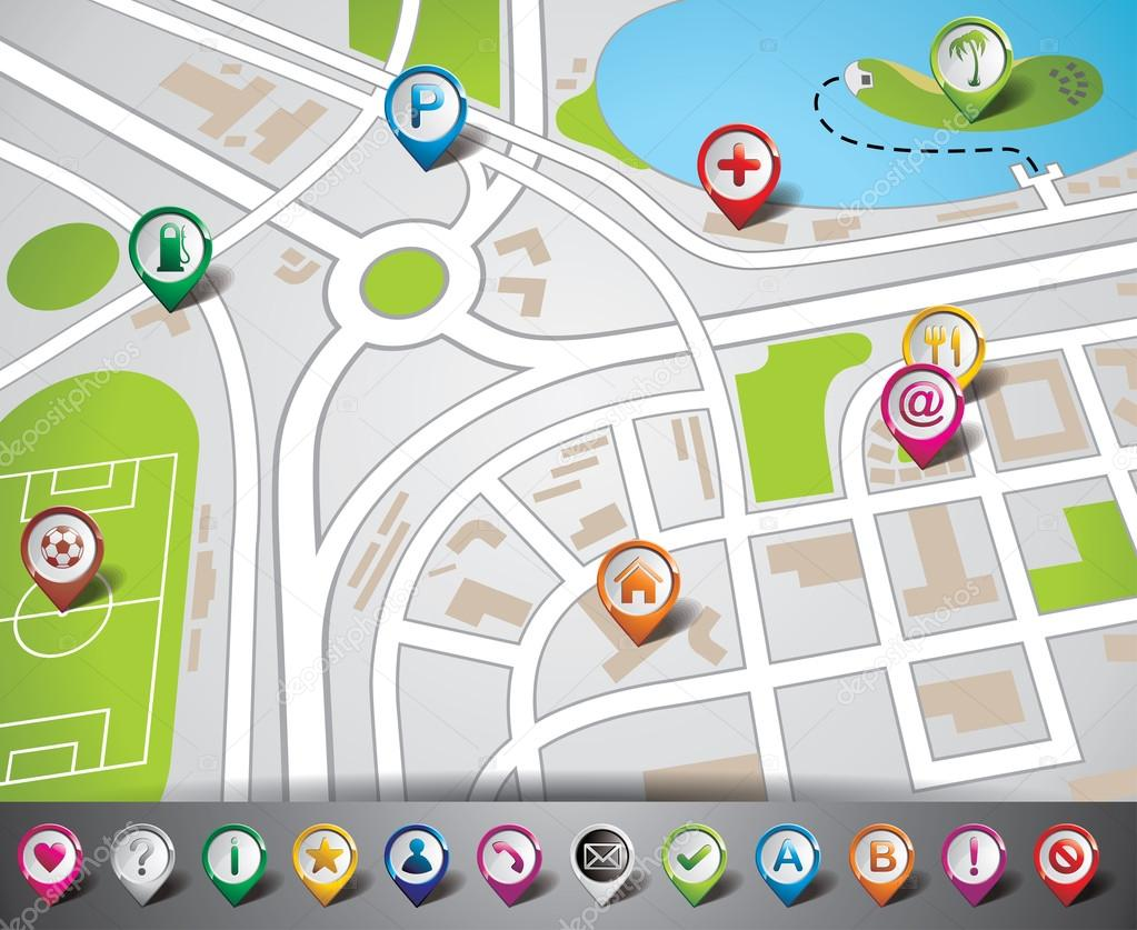 Vector map illustration with pointer set. EPS 10.