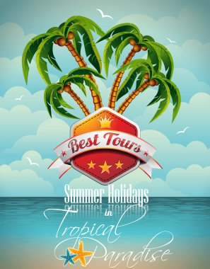 Vector Summer Holiday Flyer Design with palm trees.