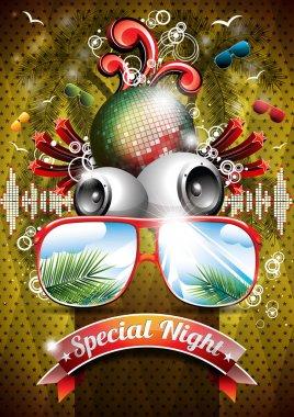Vector Summer Beach Party Flyer Design with disco ball