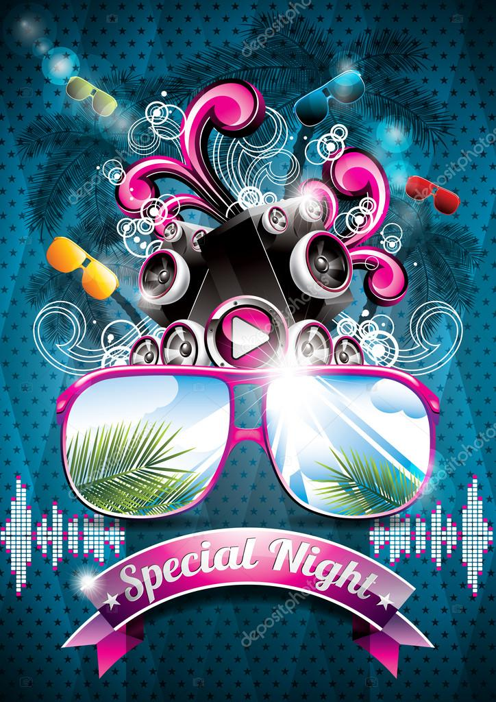 Vektor Sommer Strand Party Flyer Design mit Lautsprecher ...