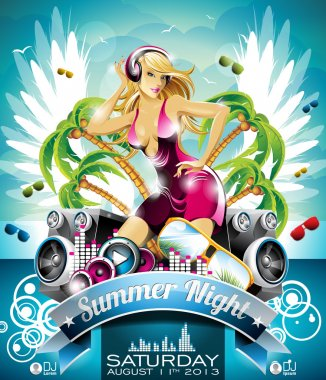 Vector Summer Beach Party Flyer Design with sexy girl and speakers on cloud background.