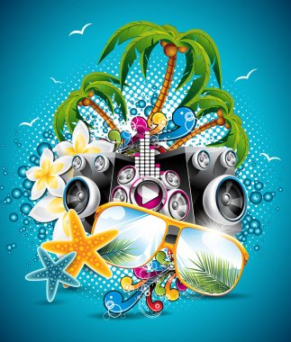 Vector Summer Beach Party Flyer Design with sunglasses and starfish on blue background