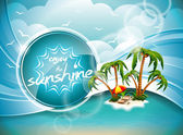 Vector Summer Holiday Design with Paradise Island on blue sea background.