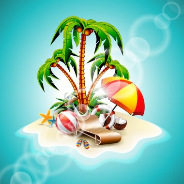Vector Summer Holiday Flyer Design with coconut and Paradise Island on blue background.