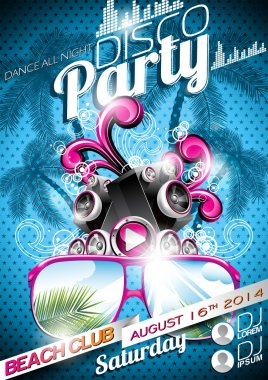 Vector Disco Party Flyer Design with speakers and sunglasses on blue background