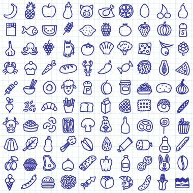 One hundred food icons