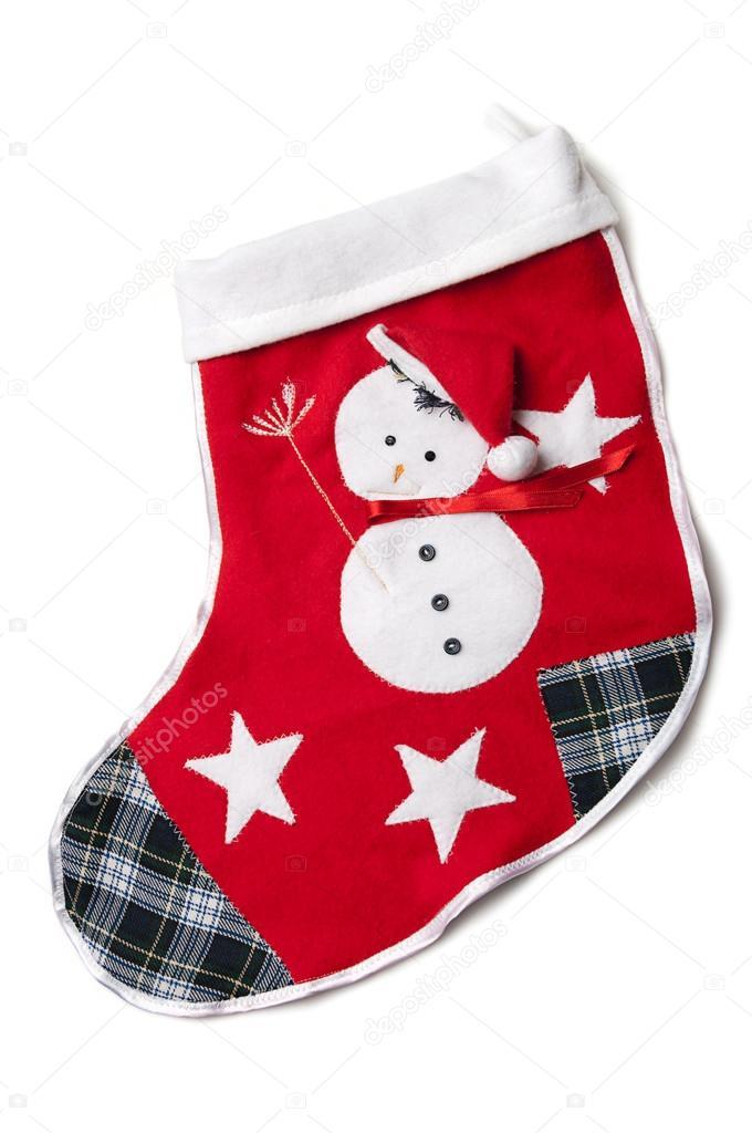 genähte Schneemann auf die rote Weihnachts-Socke — Stockfoto ...