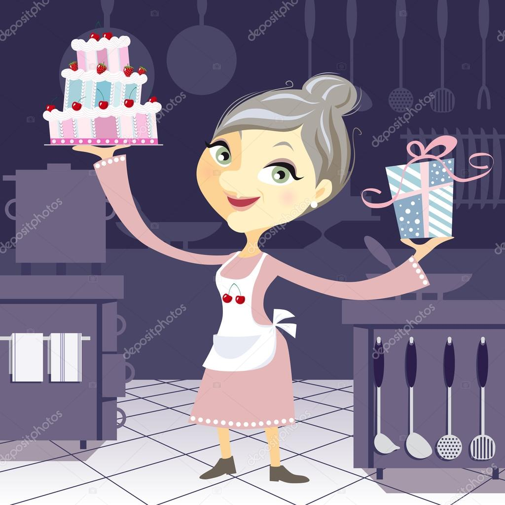 Fantastic Happy Grandmother In The Kitchen With A Birthday Cake And A Pres Funny Birthday Cards Online Kookostrdamsfinfo