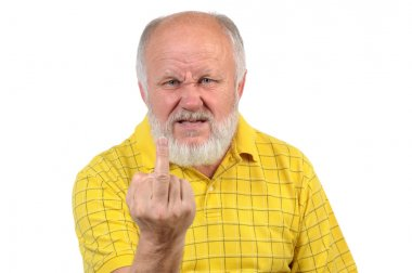senior bald man shows fuck or middle finger