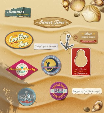 Summer Design Elements on sand background.Useful design elements: signs, tag, labels, papers in summer style.