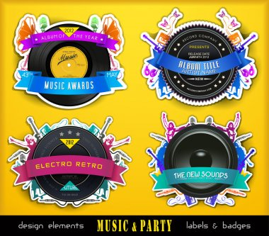 Colorful Retro Music Labels and Badges.