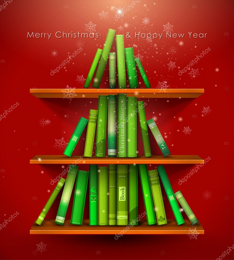 Collection of Christmas Stories. Christmas tree formed from books on the bookshelf.