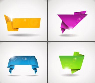 Colorful set of origami speech bubble