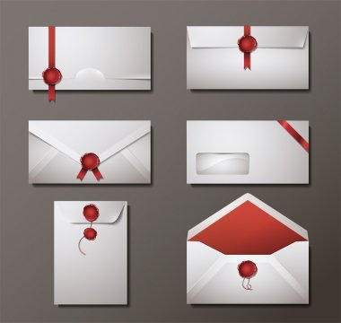 Vector set of wax sealed envelopes