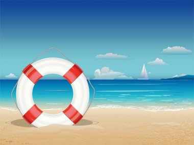 Sea landscape with lifebuoy.
