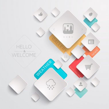 Geometric web template with various icons clip art vector