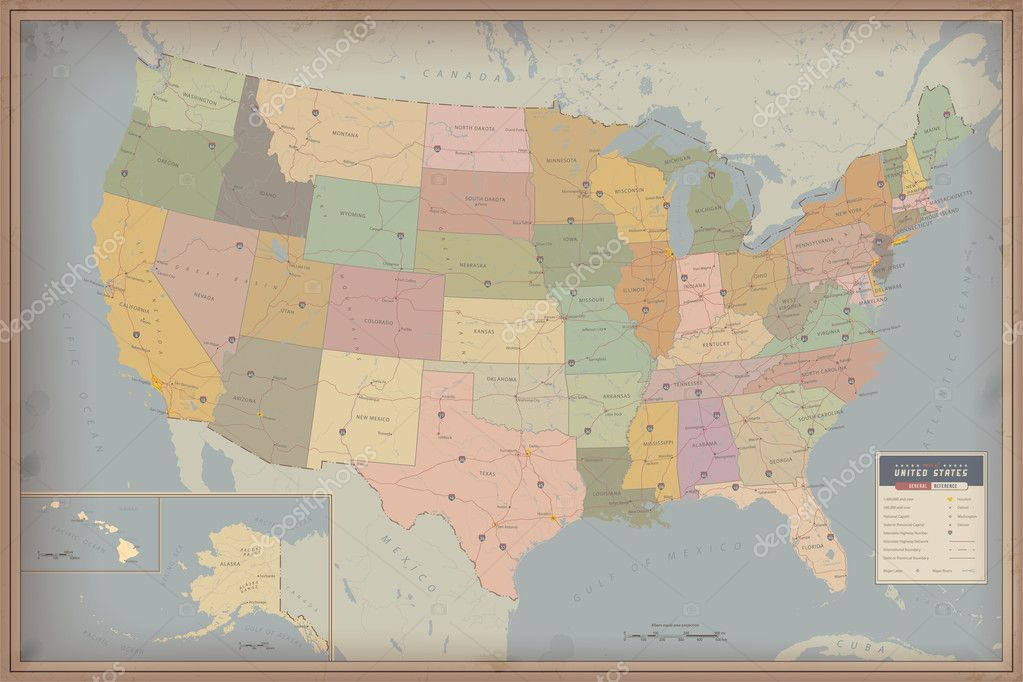 Highly Detailed Map Of United States Stock Vector Blinkblink - 1829 us map