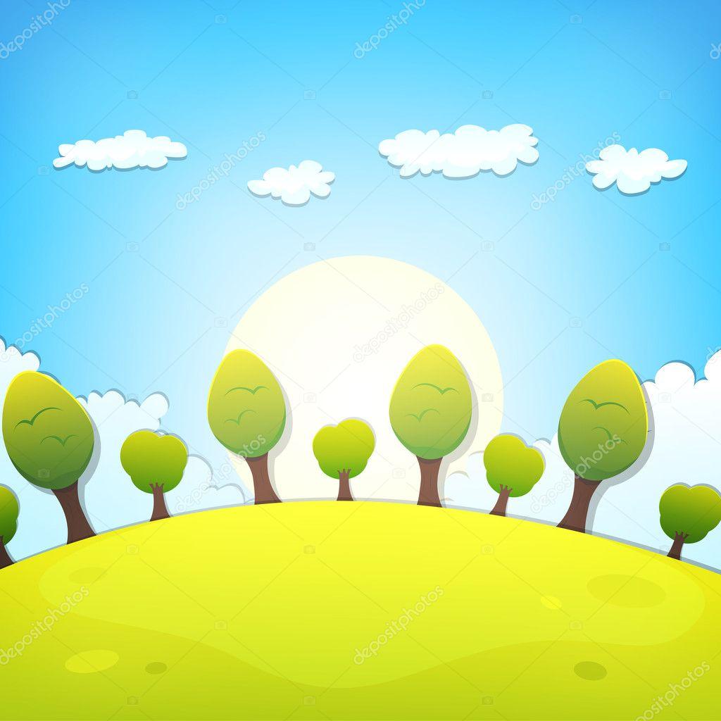 Фотообои Spring Or Summer Cartoon Landscape