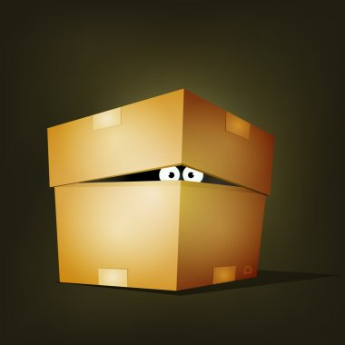 Illustration of a funny cartoon creature or animal's character eyes hiding and looking inside a cardboard box delivery stock vector