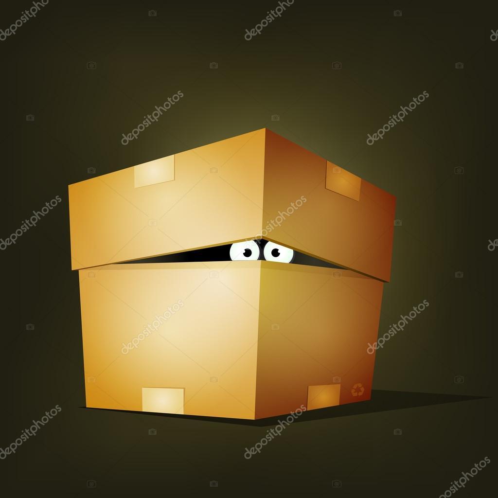 Creature Inside Birthday Cardboard Box