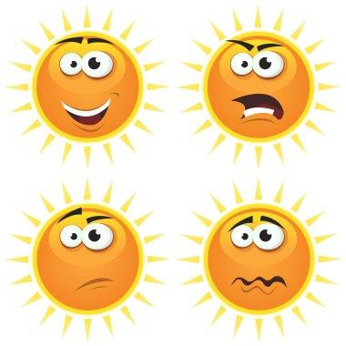 Cartoon Sun Icons Emotions