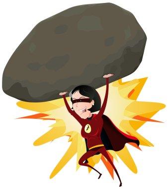 Comic Super Girl Throwing Big Rock
