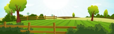 Illustration of a spring or summer season agriculture and farming wide landscape with fields, pasture, meadows, hedges, fences, trees, lawn and grass for dairy cows stock vector