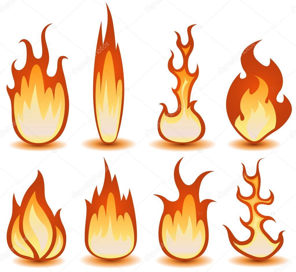 Ateş Ve Alev Simgeler Kümesi Stok Vektör Benchyb 21830287