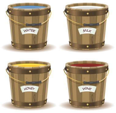 Water, Milk, Honey And Wine Inside Wood Bucket
