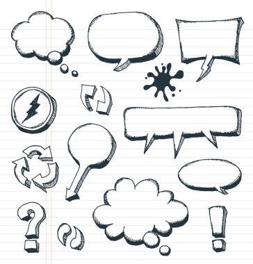 Arrows, Speech Bubbles And Doodle Elements Set