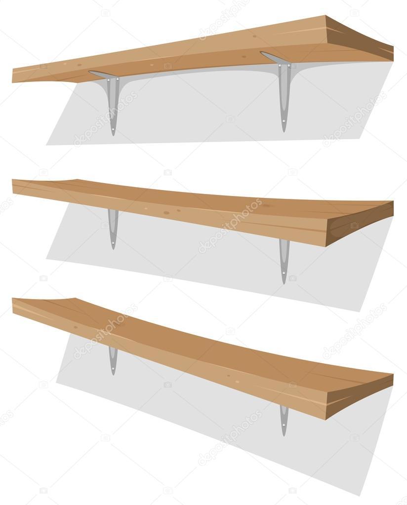 Drewniane Półki Na ścianie Grafika Wektorowa Benchyb