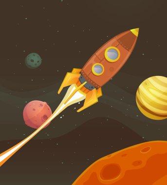 Rocket Ship Flying Through Space