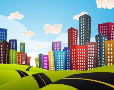 Cartoon Downtown Road Landscape