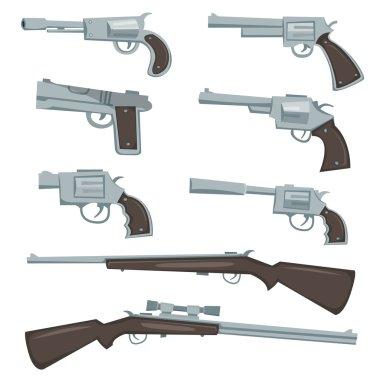Cartoon Guns, Revolver And Rifles Set
