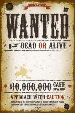 Illustration of a vintage old wanted placard poster template, with dead or alive inscription, cash reward like in far west and western movies stock vector
