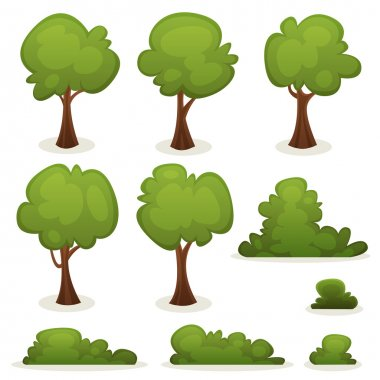 Illustration of a set of cartoon spring or summer trees and other green forest elements, with bush, hedges stock vector