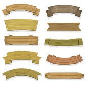 kreslený dřevo nápisy a stuhy