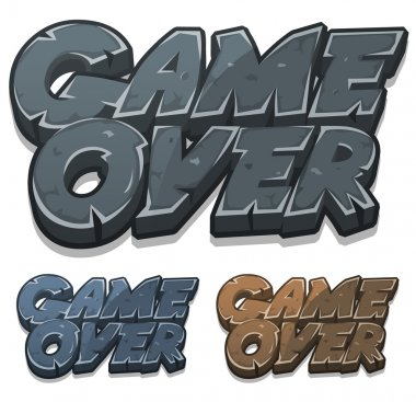 Cartoon Game Over Icon For Ui Game