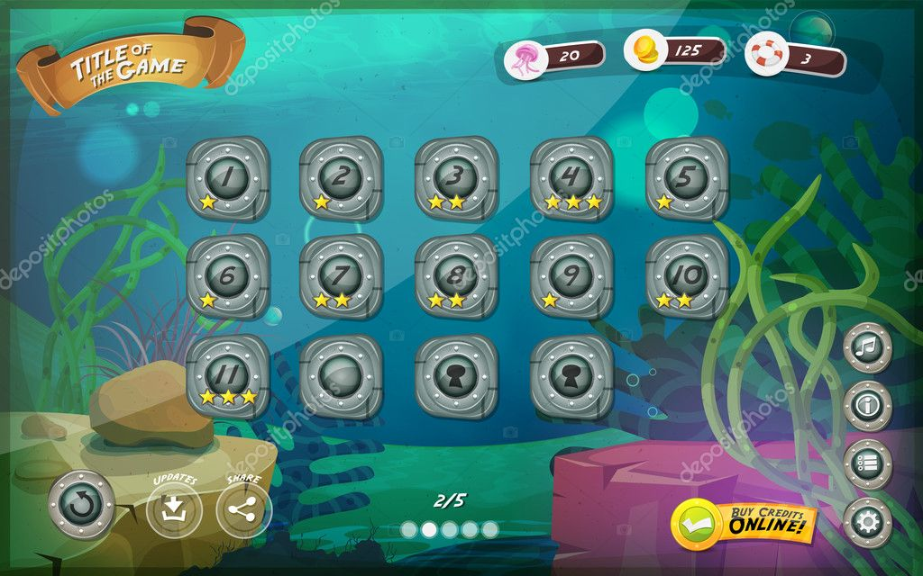Submarine Game User Interface For Tablet