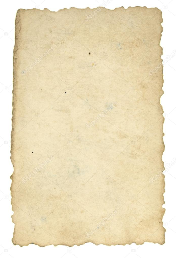 Piece of old paper background isolated on white